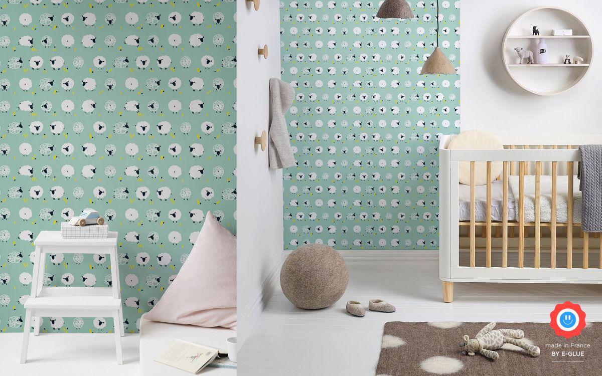 papier peint mouton chambre bébé - bleu menthe
