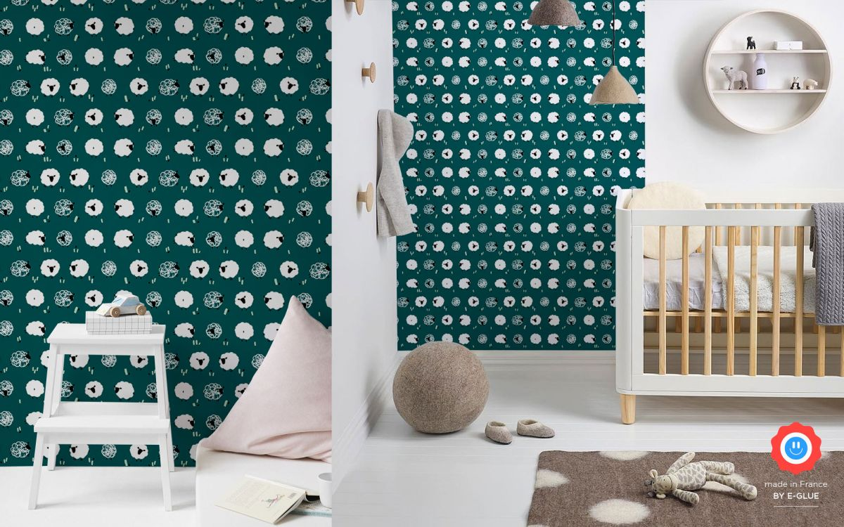 sheep nursery wallpaper - peacock blue