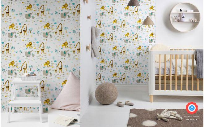 papel pintado infantil bebé con lindos animales de la jungla para habitaciones infantiles bebés