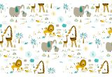 cute jungle animals wallpaper for children's room or baby nursery