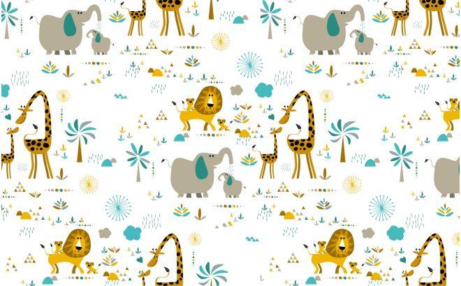 Papier Peint Animaux Jungle Deco Chambre Bebe