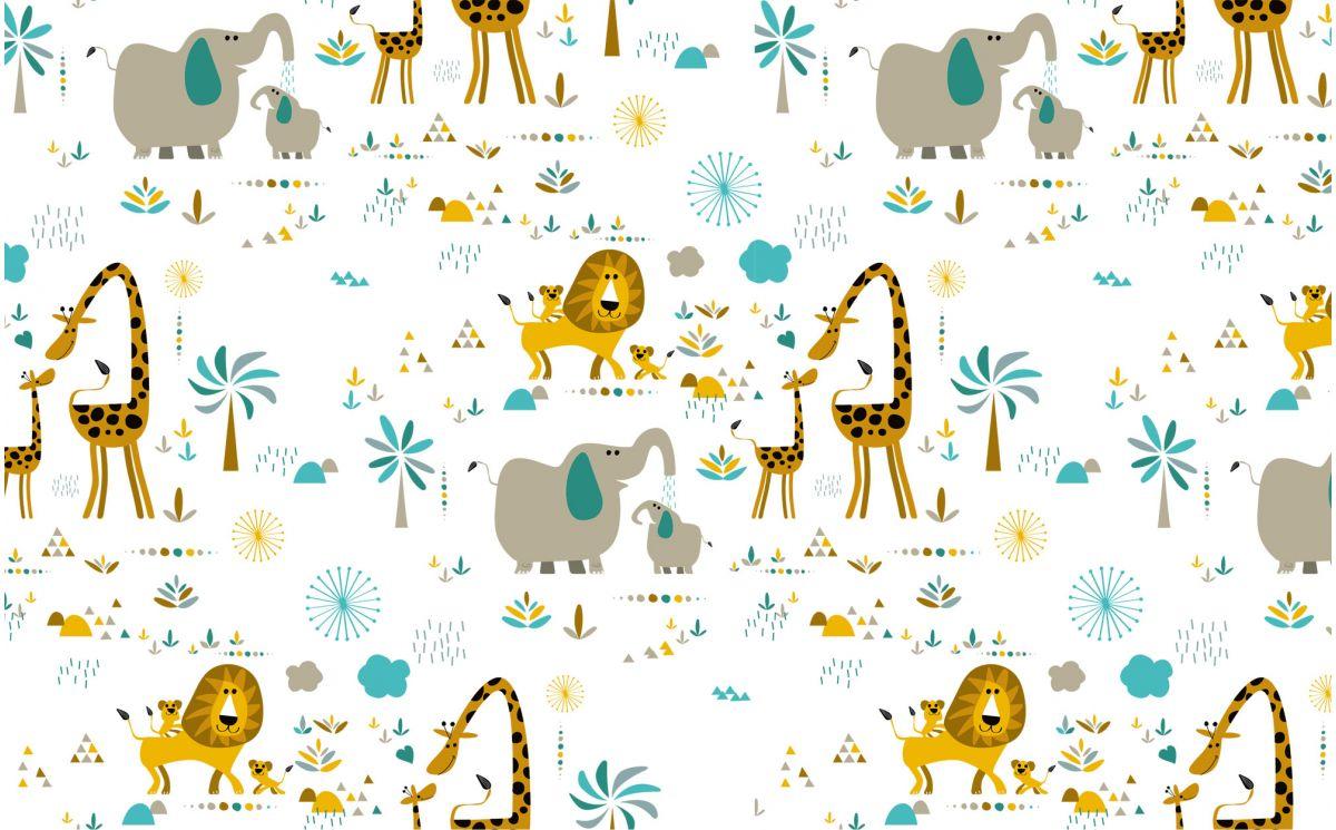 Papel pintado animales jungla habitaci n infantil beb - Papel pintado bebe nina ...