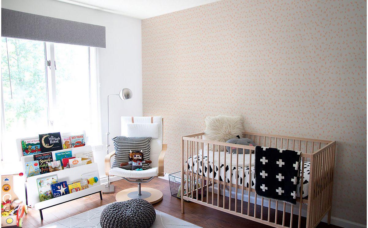 papier peint graphique rose d co chambre enfant fille. Black Bedroom Furniture Sets. Home Design Ideas