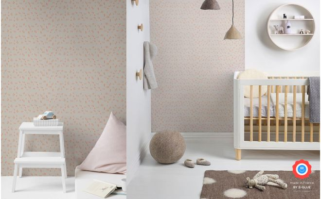 cute and modern grey and pink graphic nursery wallpaper for girls room or baby room