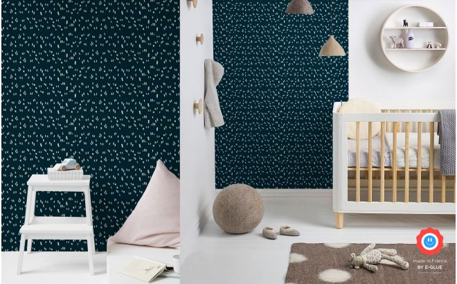 cute and modern blue and white graphic nursery wallpaper for boys room or baby room