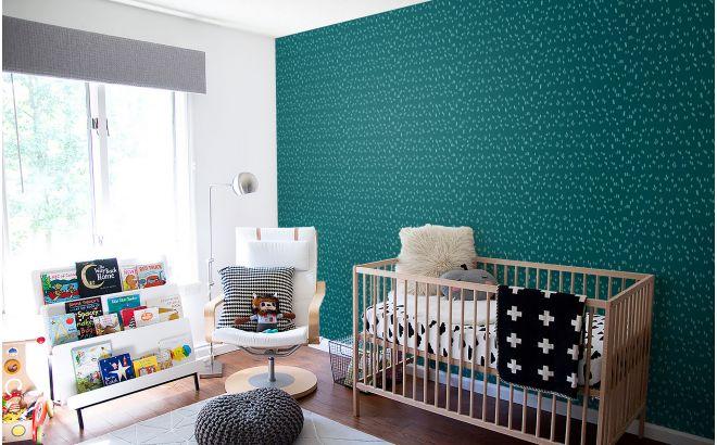 papier peint graphique bleu canard et menthe pour chambre bébé ou chambre garçon