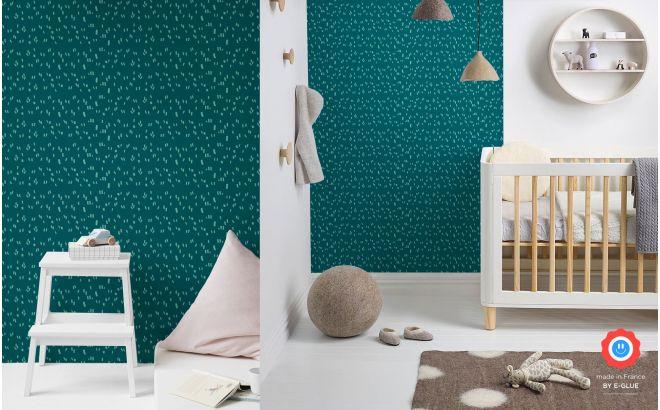 papel pintado gráfico infantil azul pato y menta para habitación moderna bebés o niños