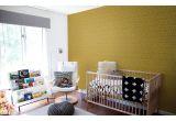 papel pintado gráfico infantil mostaza y amarillo para habitación infantil moderna