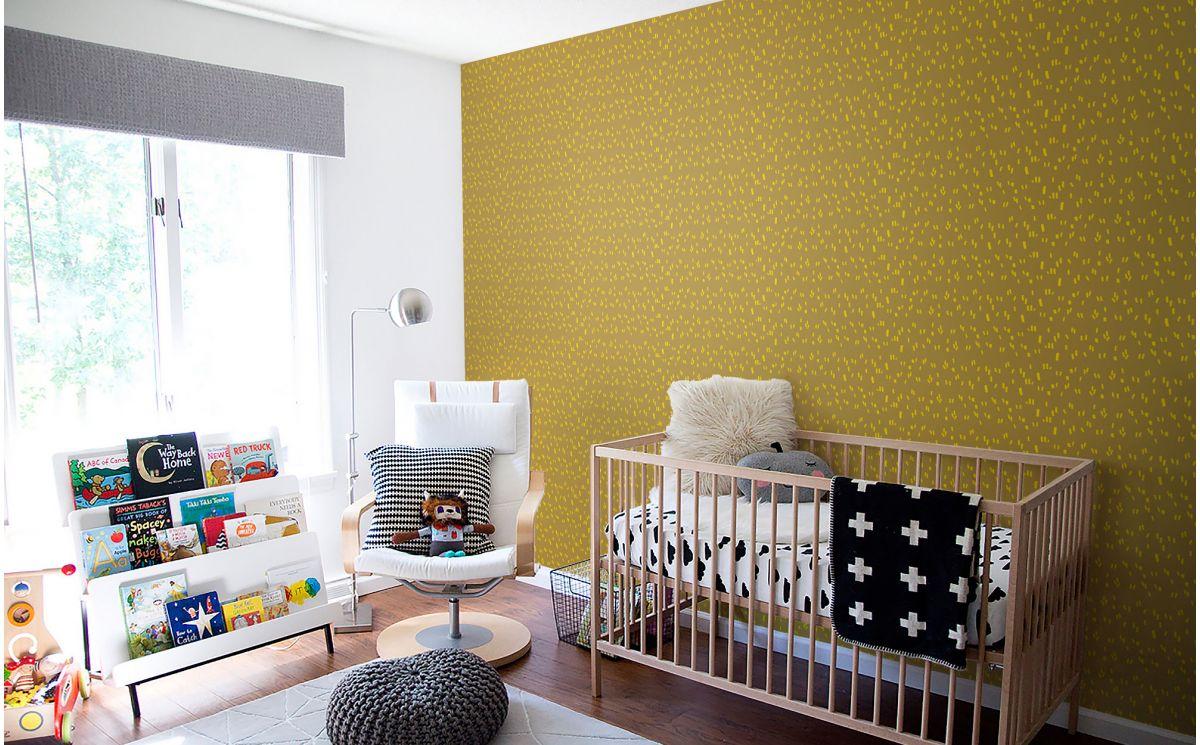 Papier peint graphique moutarde d co chambre enfant - Papier peint chambre enfant ...