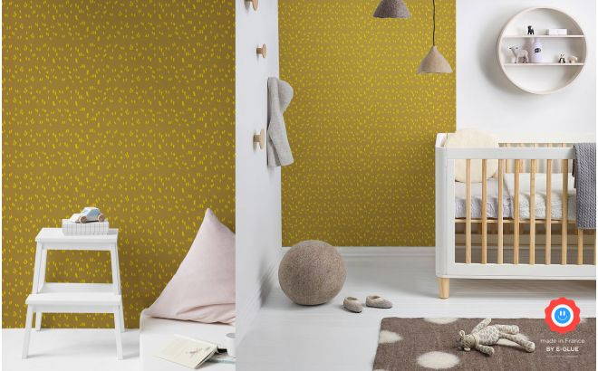 beautiful mustard and yellow graphic wallpaper for modern kids room