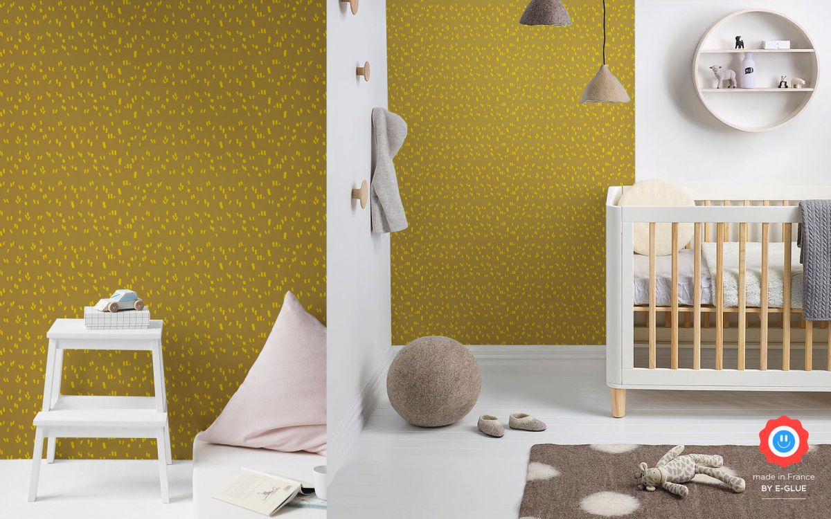 modern graphic kids wallpaper - mustard