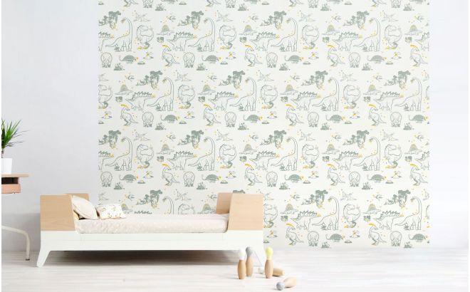 papier peint dinosaure gris et jaune pour chambre garçon contemporaine