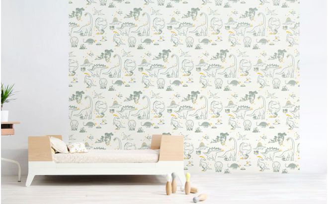 grey and yellow dinosaur wallpaper for modern boys room