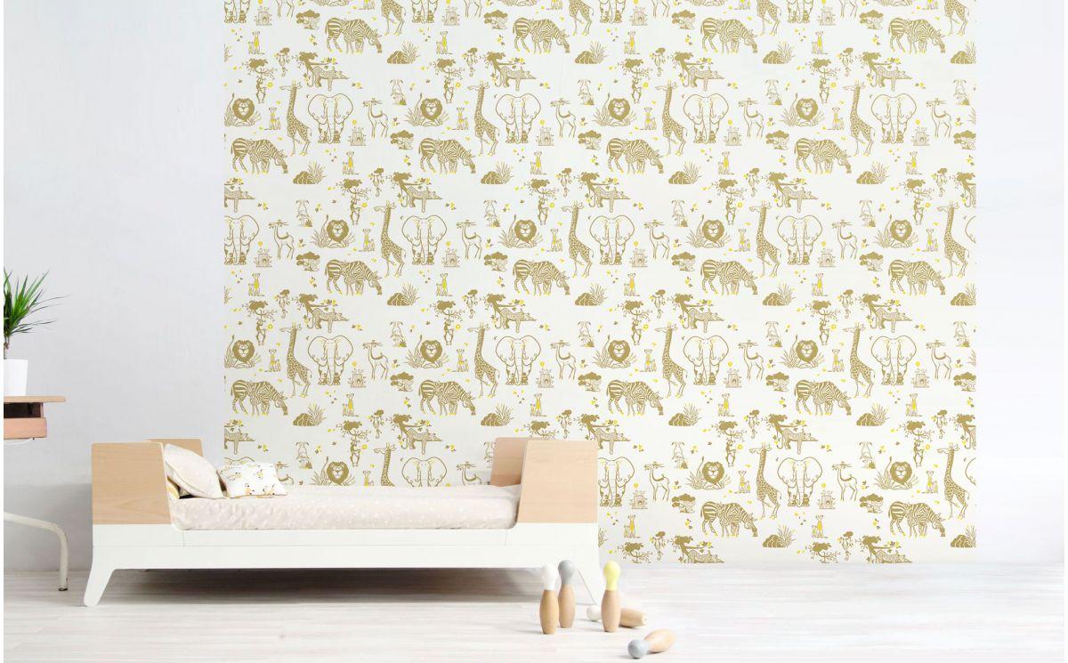 Papier Peint Jaune Moutarde papier peint animaux savane - déco chambre enfant