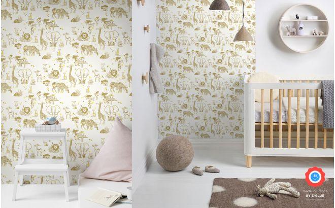 joli papier peint enfant animaux de la savane moutarde et jaune pour chambre enfant et bébé