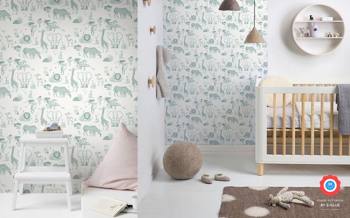 papier peint enfant animaux jungle - gris vert