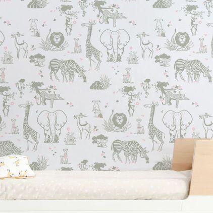 Safari Animals Kids Wallpaper Taupe