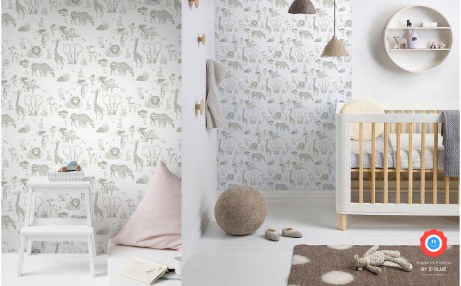 joli papier peint enfant animaux de la jungle taupe et rose pour chambre enfant fille