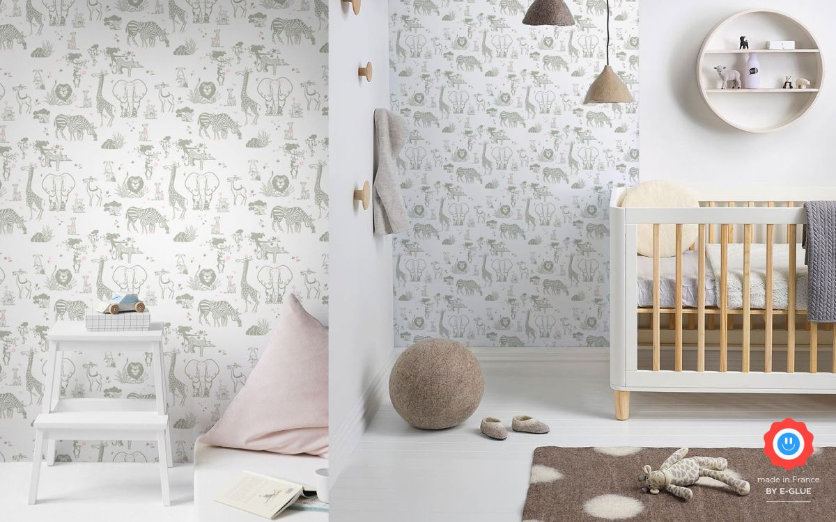 safari animals kids wallpaper - taupe
