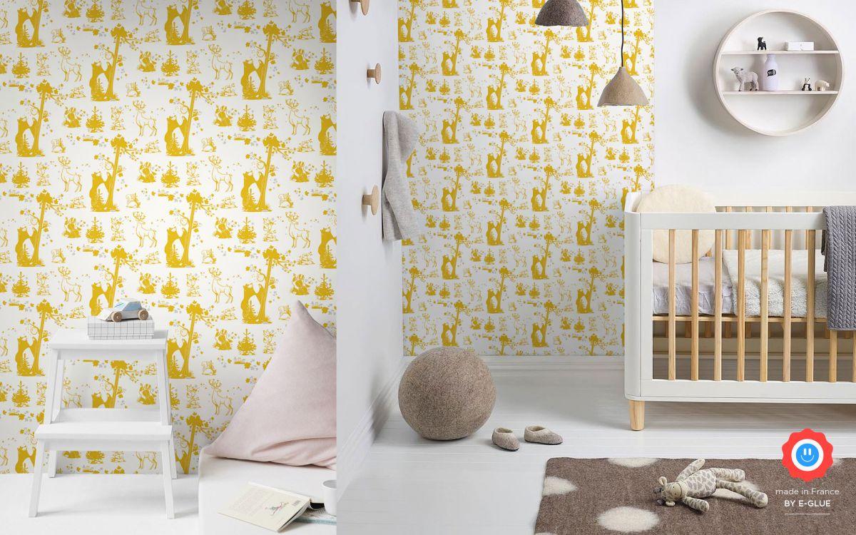 papier peint enfant animaux foret - moutarde