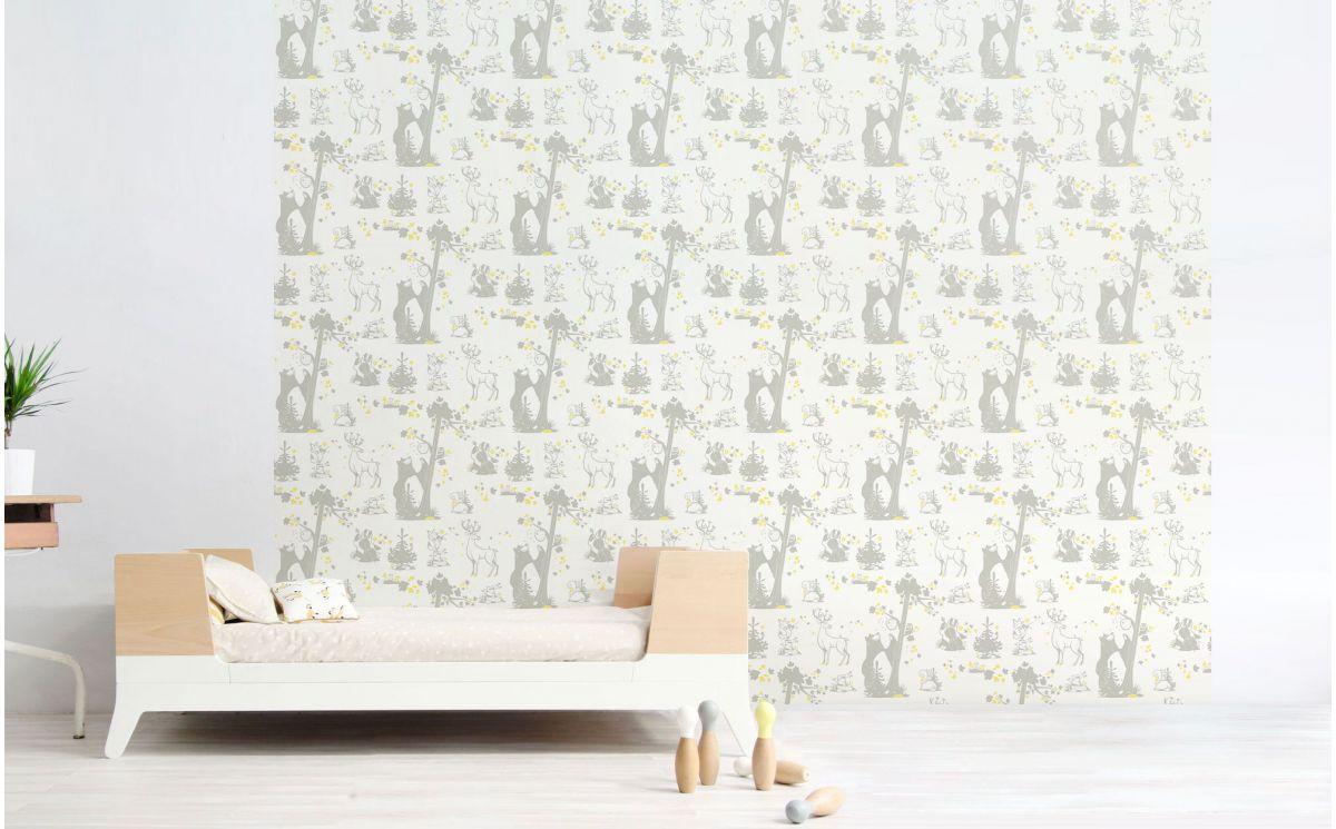 papier peint animaux foret d coration chambre enfant. Black Bedroom Furniture Sets. Home Design Ideas