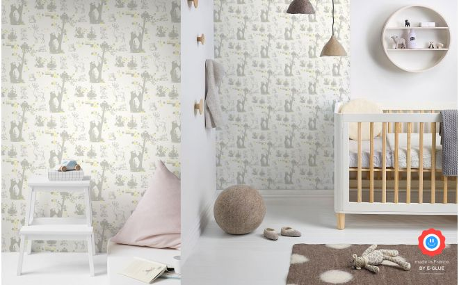 cute forest animals wallpaper grey and yellow for children's room or baby nursery