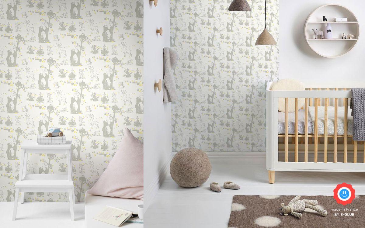 papier peint enfant animaux foret - gris