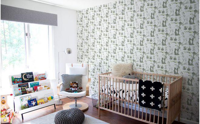 joli papier peint enfant animaux de la foret kaki et vert pour chambre enfant garçon