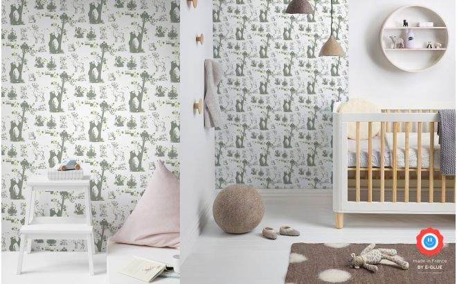 cute forest animals wallpaper khaki and green for children's boys room