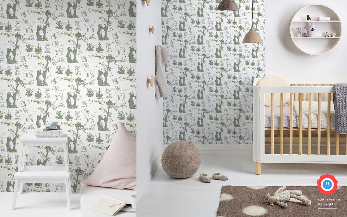 papier peint enfant animaux foret - kaki