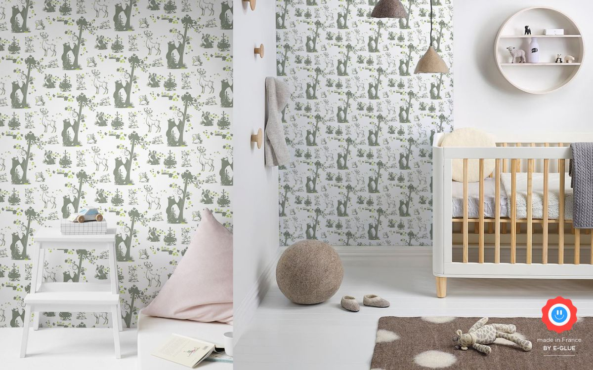 forest animals kids wallpaper - green grey