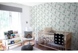 joli papier peint enfant animaux de la foret gris vert et rose pour chambre enfant fille