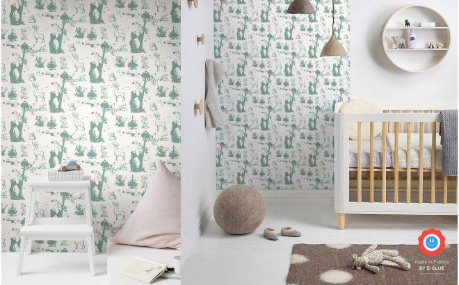 papier peint animaux foret d coration chambre fille. Black Bedroom Furniture Sets. Home Design Ideas