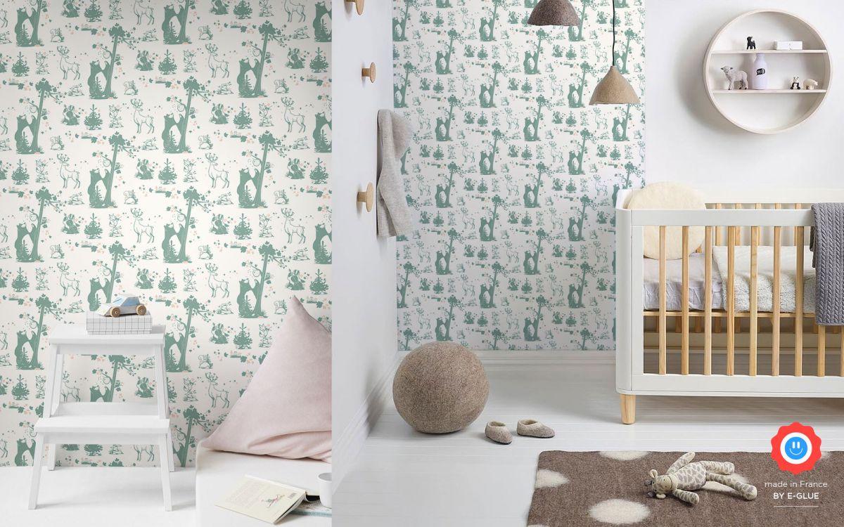 papier peint enfant animaux foret - gris vert