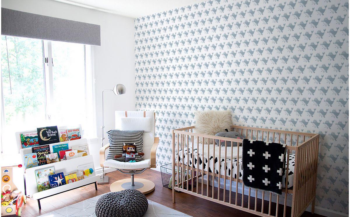 papier peint baleine bleu gris d co chambre b b. Black Bedroom Furniture Sets. Home Design Ideas
