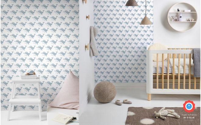 papel pintado infantil bebé gris azul con ballenas lindas para habitación bebés o niños