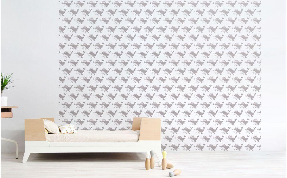 papier peint baleine gris rose d co chambre b b. Black Bedroom Furniture Sets. Home Design Ideas