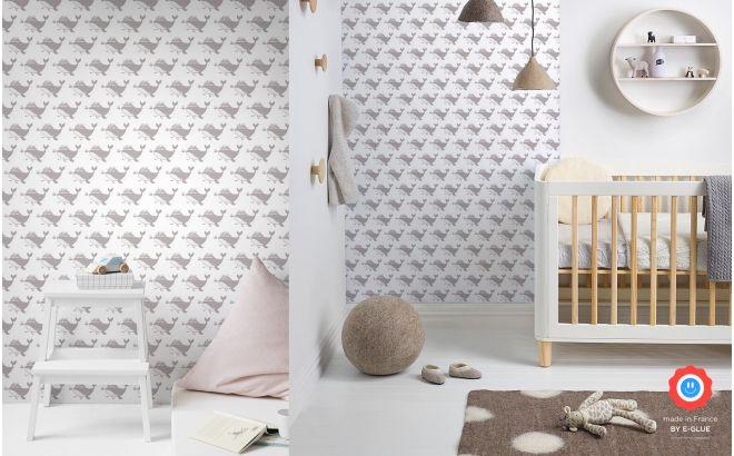 cute pink grey whale nursery wallpaper for kids room, girls room or baby room