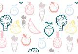 papier peints bébé fruits et légumes, décoration murale chambre enfant