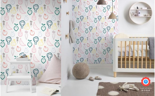 baby room fruit and veggie wallpaper, baby nursery wall mural, kids room wall decor.