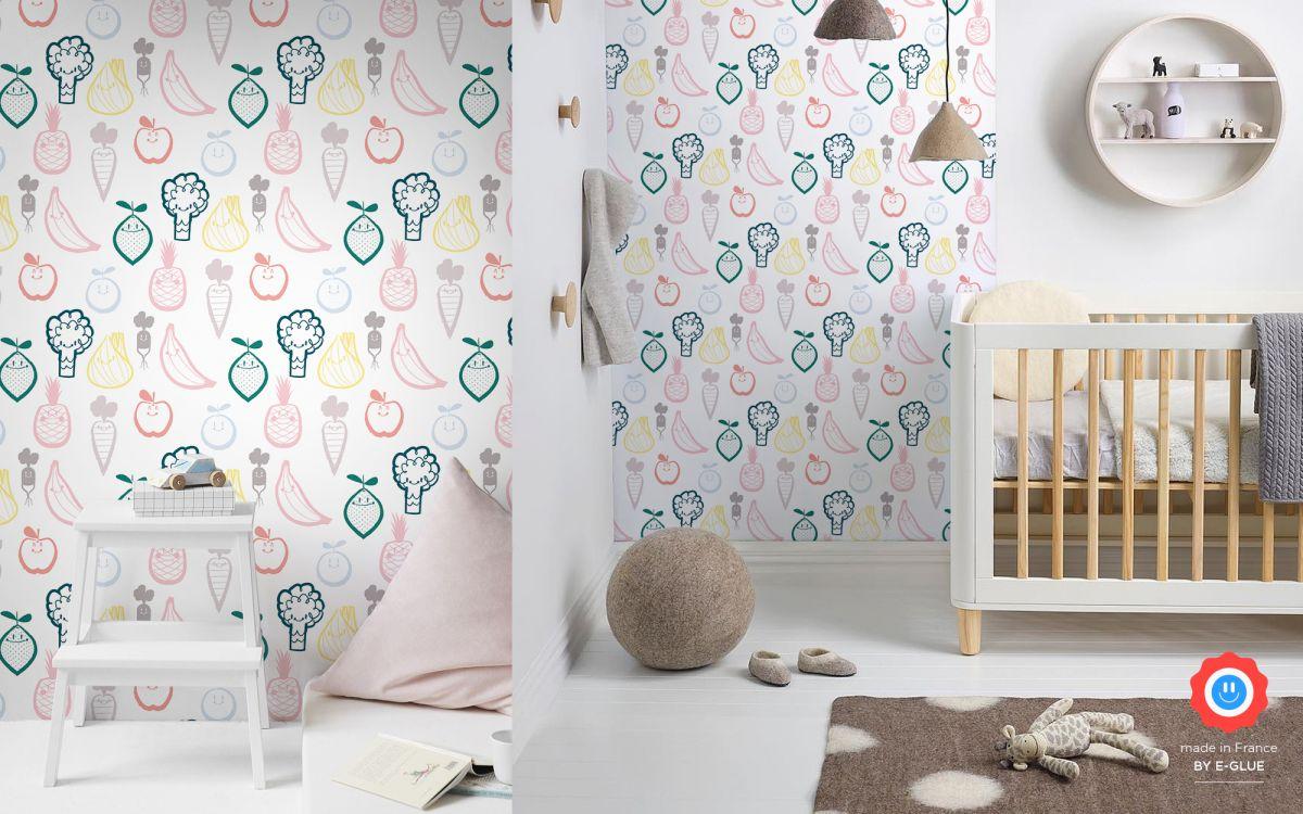 nursery wallpaper fruit and veggie