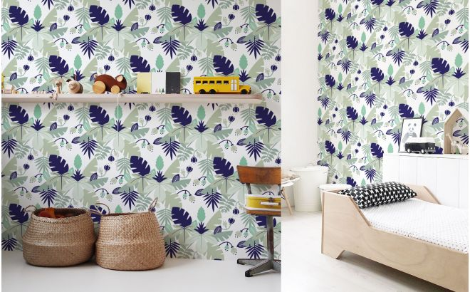 blue tropical jungle leaves wallpaper for kids room, boys room