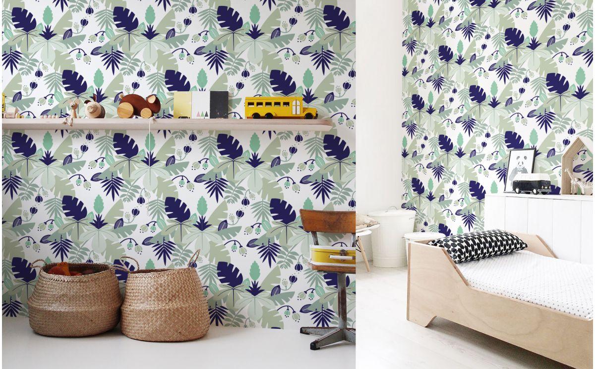 Papel pintado tropical azul decoraci n habitaci n infantil ni os Papel pintado habitacion infantil