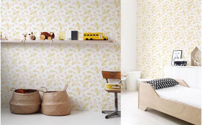 papier peint floral pour chambre bébé ou fille - pastel