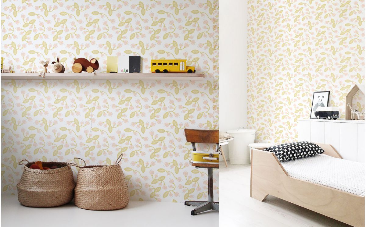 Pastel Flower Wallpaper Nursery Wallpaper Girls Room Wall Murals