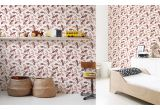 pink floral wallpaper for kids room, girls room or baby nursery