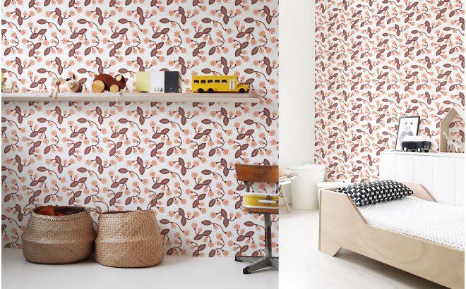 papier peint enfant floral rose d co chambre b b et fille. Black Bedroom Furniture Sets. Home Design Ideas