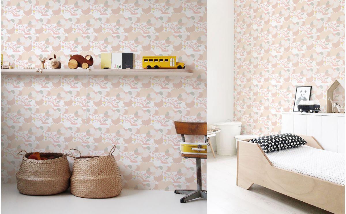 papier peint b b oiseau rose d co chambre b b et fille. Black Bedroom Furniture Sets. Home Design Ideas