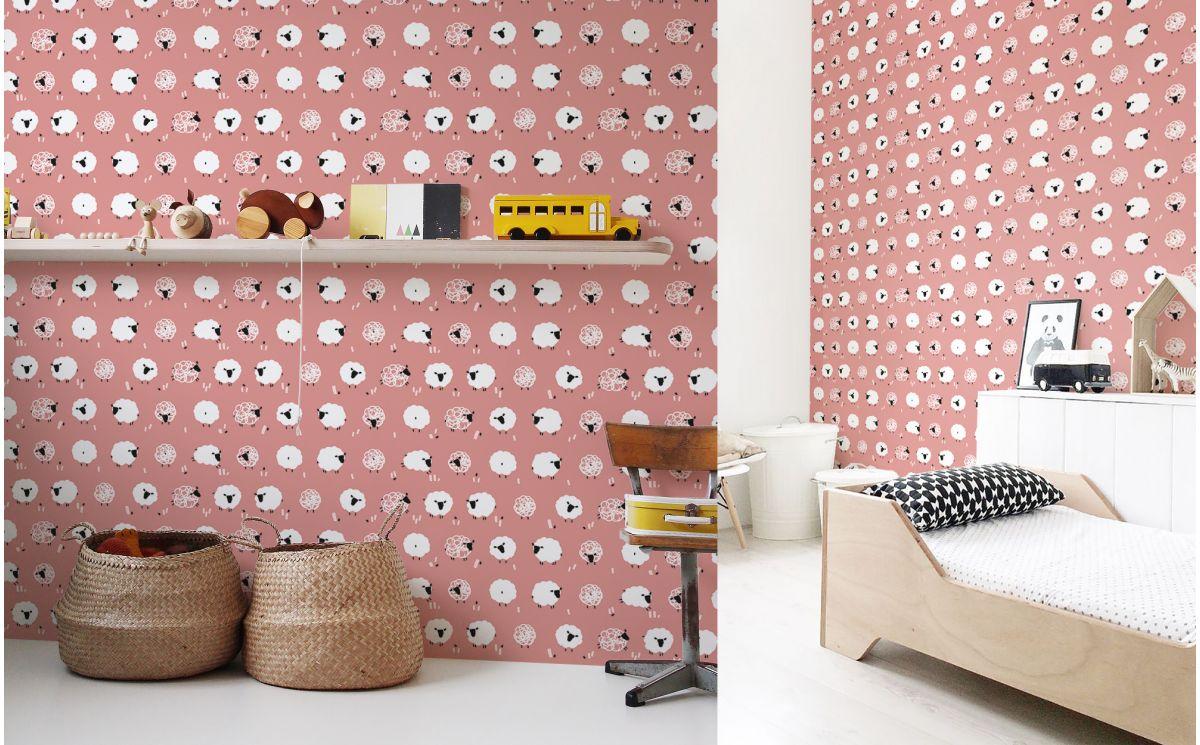 Papel pintado oveja rosa decoraci n habitaci n infantil beb for Decoracion habitacion bebe papel pintado