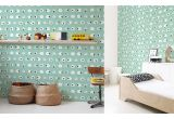 cute mint blue sheep nursery wallpaper for kids room, boys room or baby room